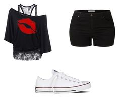 """Untitled #74"" by x5sauceloverx on Polyvore featuring LE3NO and Converse"