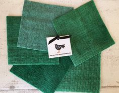 "Hand Dyed Felted Wool Fabric in Juniper Green  5"" x 5""  Wool Charm Pack of 5 by SimplyUniqueBySheila on Etsy"