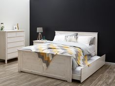 Double Bed   Trundle   Whitewash   Modern - B2C Furniture