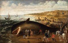 Esaias van den Velde - The Whale Beached between Scheveningen and Katwijk, with Elegant Sightseers  1617