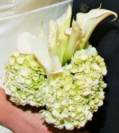 White Calla Lily Bridal Bouquet surrounded by White Hydrangeas