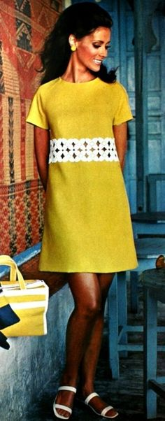 Yellow 1960s dress with cut-out detail - inspiration for a Francoise dress