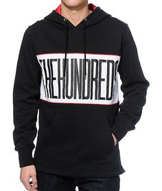 """Update your outfits with a white and red polyester stripe chest panel on a black colorway that features a """"The Hundreds"""" wraparound text graphic plus a soft fleece lining for comfort."""