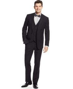 Kenneth Cole Reaction Black Stripe Vested Slim-Fit Suit