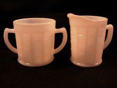 Vintage Hazel Atlas Milk Glass Creamer and Open Sugar in Colonial Block Vintage Shops, Vintage Antiques, Kitchen Dishes, Kitchen Things, Sugar Bowls, Antique Glassware, Peach Orange, Fenton Glass, Cream And Sugar