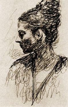 1917 Profil d'Olga au chignon
