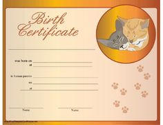 Dog birth certificate template puppy birth certificates aussies a birth certificate for a cat honoring its adoption by human parents and picturing paw yadclub Images