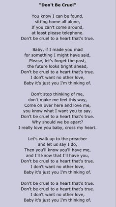 Elvis Presley - Don´t be cruel. These are my husbands words to me! Elvis Lyrics, Elvis Presley Lyrics, Elvis Sings, Great Song Lyrics, Music Lyrics, Music Quotes, Music Songs, Elvis Memorabilia, Song Words