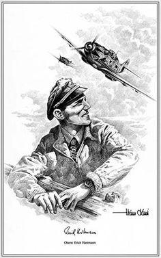 Portrait of Erich Hartmann by Heinz Krebs. Luftwaffe, Airplane Drawing, Airplane Art, Military Art, Military History, Erich Hartmann, Heroes And Generals, Ww2 Posters, Airplane Fighter