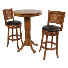 3 Pc Bar Pub Kitchen Wood Counter Stools Furniture Table Set Piece Dining Chairs for sale online Pub Table And Chairs, Pub Table Sets, Dining Room Table, Dining Rooms, Kitchen Dining, Kitchen Wood, Kitchen Ideas, Bistro Kitchen, Dining Chairs