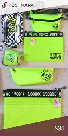 VS PINK Neon Yellow Set ALL NWT‼️‼️ Makeup Case, Fanny Pack, Coozie, and swimsuit carrier! 😊Perfect gift or stocking stuffer!😍❤️ NO TRADES! PINK Victoria's Secret Bags Cosmetic Bags & Cases