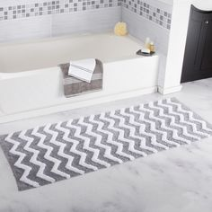Silver Chevron Large Bath Rug