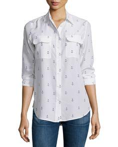 Slim Signature Anchor-Print Shirt, Bright White, Women's, Size: S, Bright White/Pe - Equipment