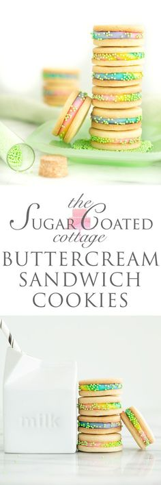 Buttercream Sandwich Cookie Recipe - The Sugar Coated Cottage The best sandwich cookies! Cut Out Cookies, No Bake Cookies, Yummy Cookies, Baking Cookies, Cake Cookies, Favorite Sugar Cookie Recipe, Sugar Cookies Recipe, Cookie Recipes, Cookie Jars