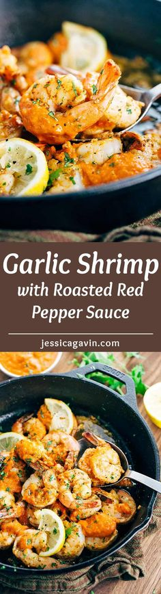Garlic Shrimp Skillet with Roasted Red Pepper Sauce - Healthy and fast recipe with a savory pureed vegetable sauce. | jessicagavin.com