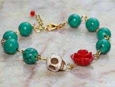 Original Day of the Dead Green Turquoise Red Rose Frida Kahlo's Flower Jewelry Atlanta White Sugar Skull Bracelet. $18.00, via Etsy.
