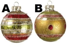Sullivans - Glittered Red, Green and Gold Glass Ornaments