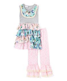 Look what I found on #zulily! Aqua & Pink Unicorn Ruffle Dress & Pants - Infant & Kids #zulilyfinds