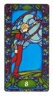 View the Eight of Wands in the Art Nouveau deck on Tarot.com
