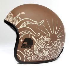 Custom Helmets & Gear Inspiration Bobber & Chopper Motorcycles Old school vintage style bike art & apparel Motorcycle Helmet Design, Biker Helmets, Cafe Racer Helmet, Motorcycle Gear, Custom Moto, Bobber Custom, Custom Helmets, Arte Sharpie, Baby Helmet