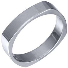 Jewelry Masters : Mens 14KT White Gold 4mm High Gloss Square Wedding Band [40-AW] - $475.00 (950.00)