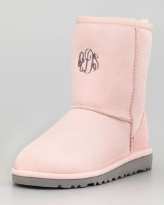 Monogrammed Youth Classic Short Boot, Baby Pink by UGG Australia at Neiman Marcus.
