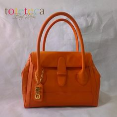 Orange Small Flap Satchel with a Hanging Tag monogram.