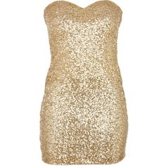 Gold Sequin Strapless Sweetheart Dress ($48) ❤ liked on Polyvore