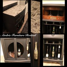 Up cycled Stereo cabinet into a liquor cabinet!! @generalfinishes lamp black and flat out flat