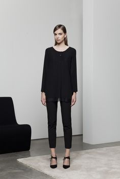 Piazza Sempione | Resort 2015 | 10 Black long sleeve tunic with sheer hem and cropped trousers