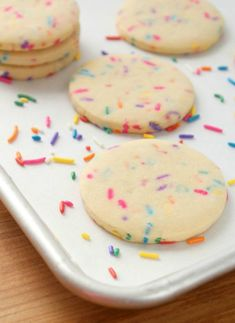 Rainbow Funfetti Cutout Cookie Recipe via Sweetsugarbelle.com (with egg substitute, of course)