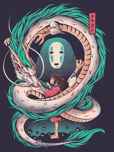 The girl and the dragon T-Shirt by Ilustrata Design Anime Art Design Dragon Girl Ilustrata TShirt Ghibli Tattoo, Studio Ghibli Art, Studio Ghibli Movies, Art Anime, Anime Kunst, Animes Wallpapers, Cute Wallpapers, Queen Anime, Chihiro Y Haku