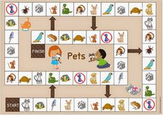 """Idea trip: Playing field """"Pets"""" for English and DAZ Source by katrinhagen English Primary School, Teaching English, Letras Abcd, Easter Breaks, Printable Board Games, English Games, Maila, Learn German, Toddler Play"""