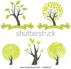 stock vector : collection of trees