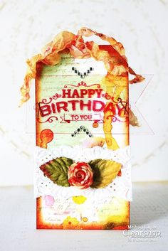 Meihsia shares a mixed media birthday tag featuring the fun ColorBox Surfacez™ inks and Izink.| Clearsnp Blog
