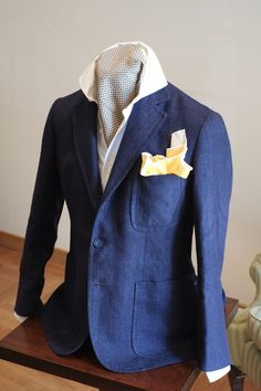 Anna Matuozzo Summer proposal - an unstructured blue linen jacket with a white cotton shirt. I will be posting a few summer jackets in the upcoming days. These are available as bespoke and ready to wear.