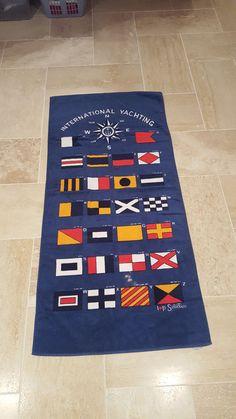 "International Yachting Blue Beach Towel MORSE CODE 32"" x 60"" Bathing SIGNAL FLAG #GramercyInternational"