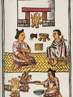 Family Codex, 1575-1577, an image from a sixteenth-century colonial manuscript compiled by Fray Bernardino de Sahagún, depicts a family at home with a girl burning incense in a handheld brazier.