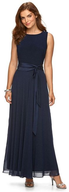 Chaps Women's Mixed-Media Evening Gown