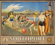 Cheshire Lines Railway poster. Southport by Fortunino MataniaÕ, railway poster, c British Travel, British Seaside, Travel Uk, Train Travel, Bikini Rouge, Johann Wolfgang Von Goethe, National Railway Museum, Railway Posters, Seaside Resort
