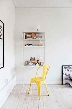 Here we showcase a a collection of perfectly minimal interior design examples for you to use as inspiration. Check out the previous post in the series: 25 Interior Design Examples, Home Interior Design, Interior Decorating, Home Office, Office Desk, Smeg, Simple Desk, Yellow Interior, Ikea Chair