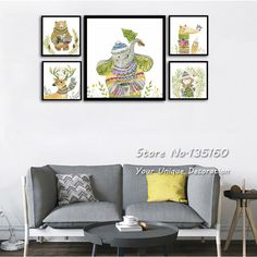 Nordic Animal Wall Canvas Prints Watercolor Deer Monkey Bear Poster With Color Scarf Decor Painting Modern Style Art No Frame