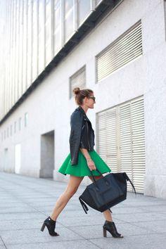 Leather jacket, skirt