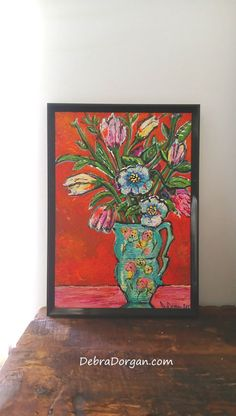 Antique Vase with Flowers Original Painting Joy by AllThingsPretty
