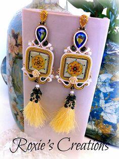 Handmade Wire Jewelry, Diy Jewelry, Jewlery, Soutache Earrings, Drop Earrings, Shibori, Roxy, Beads, Facebook