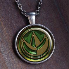 Power Ranger Vert  bijoux vert pendentif