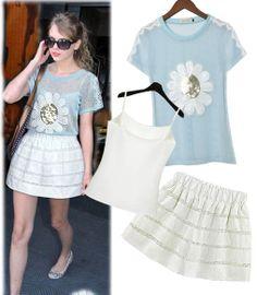 New 2014 Spring Summer Women Faldas Fashion T-Shirt Embroidery Slim Skirt Vestidos Saias Femininas Free Camisole 3 pieces Set $25.58