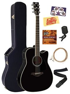Yamaha FGX830C Acoustic-Electric Guitar Bundle with Hard Case, Tuner, Strap, Strings, Austin Bazaar Instructional DVD, Picks, and Polishing Cloth - Black * Click image to review more details.