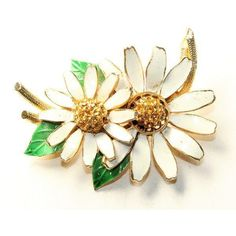 BSK Daisies White Enamel and Sparkly Golden Rhinestone Diamante Large... ❤ liked on Polyvore featuring jewelry, brooches, vintage jewelry, vintage jewellery, golden brooch, daisy jewelry and vintage enamel brooch