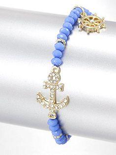Anchor Stretch Bracelet, Blue and Gold Acrylic, Rhinestone, Stretch Style Anchor Materials Acrylic, Rhinestone Length 0.5 Inch Unknown http://www.amazon.com/dp/B00L1QQPX8/ref=cm_sw_r_pi_dp_-xMLvb068GJ8T